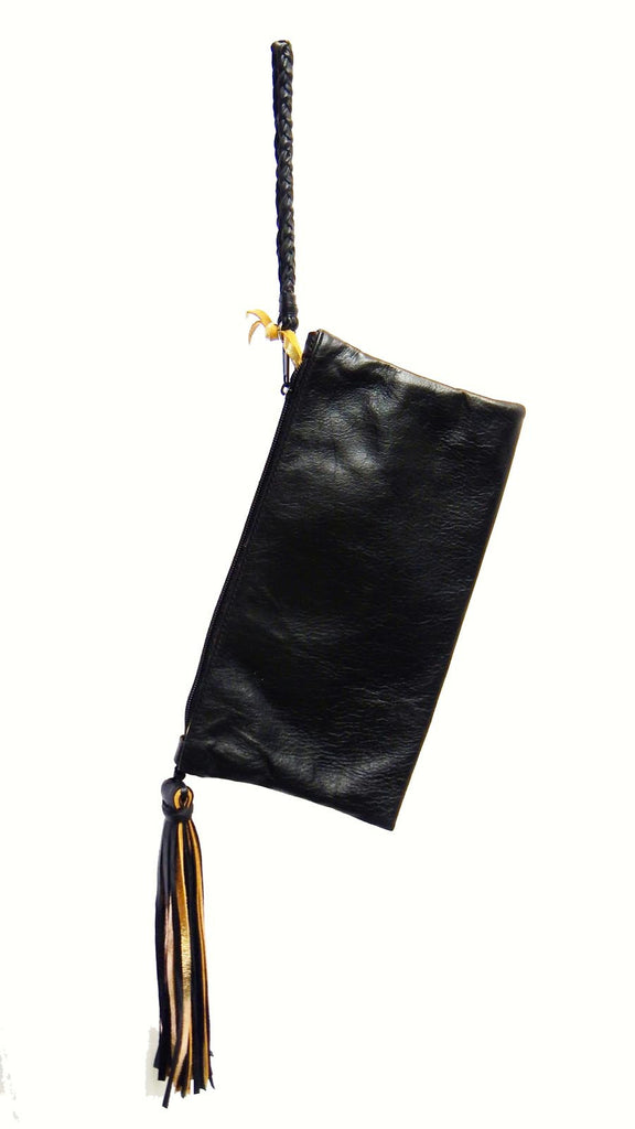 Leather & Fringe Clutch (black)