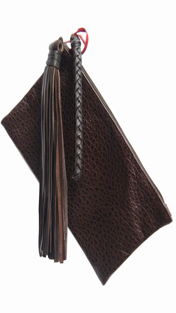 Leather & Fringe Clutch (chocolate brown)