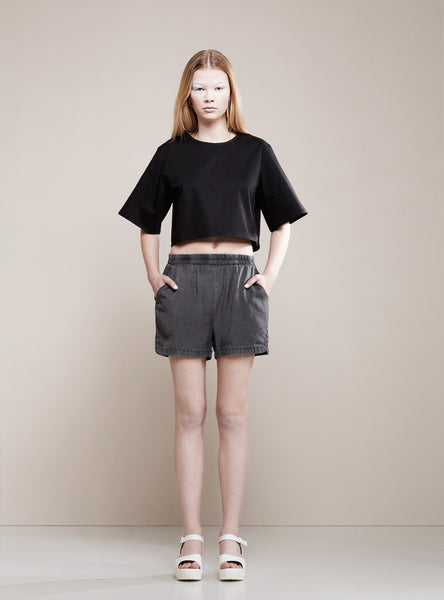 BLACK BLESSED Basic Crop Top black