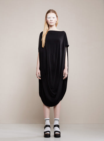 BLACK BLESSED Draping Dress black