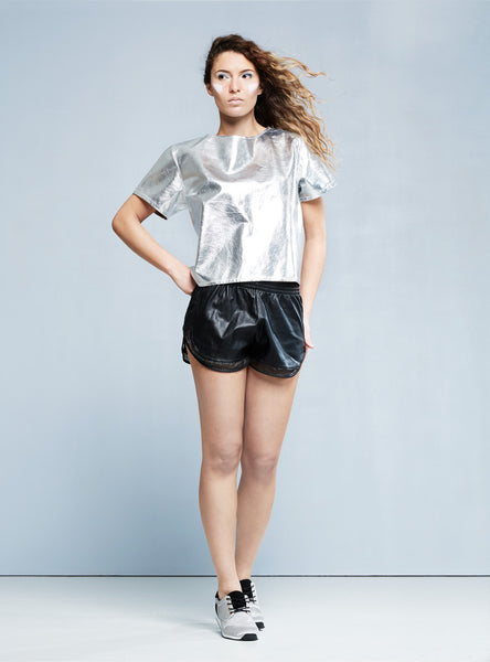 THE RAGGED PRIEST Rollergirl Leather Tee silver