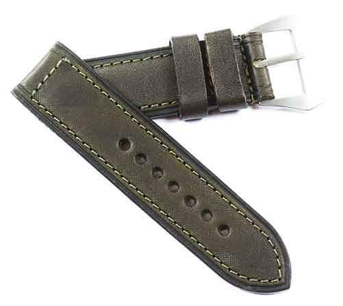 Fabrizio Ciampi Handmade Dark Olive Green Tuscan leather with sewn in buckle - TC Straps
