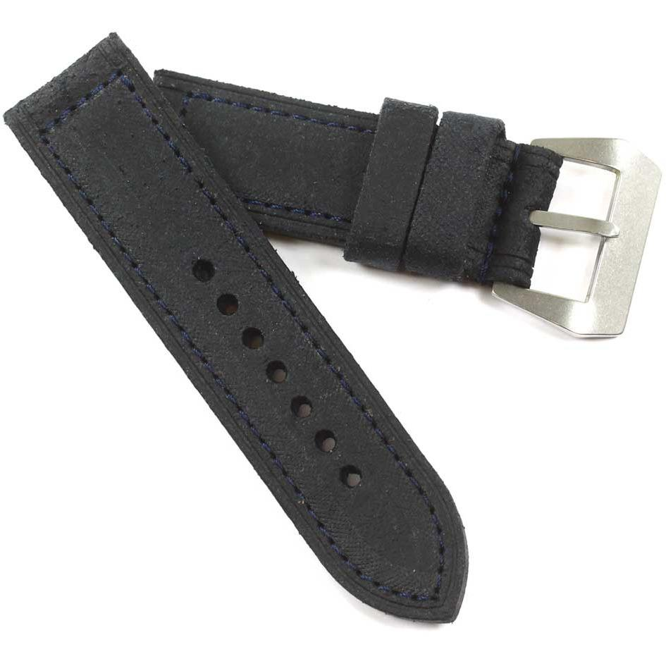 Fabrizio Ciampi Handmade Distressed Dark Blue with Blue stitching and Pre-V buckle - TC Straps