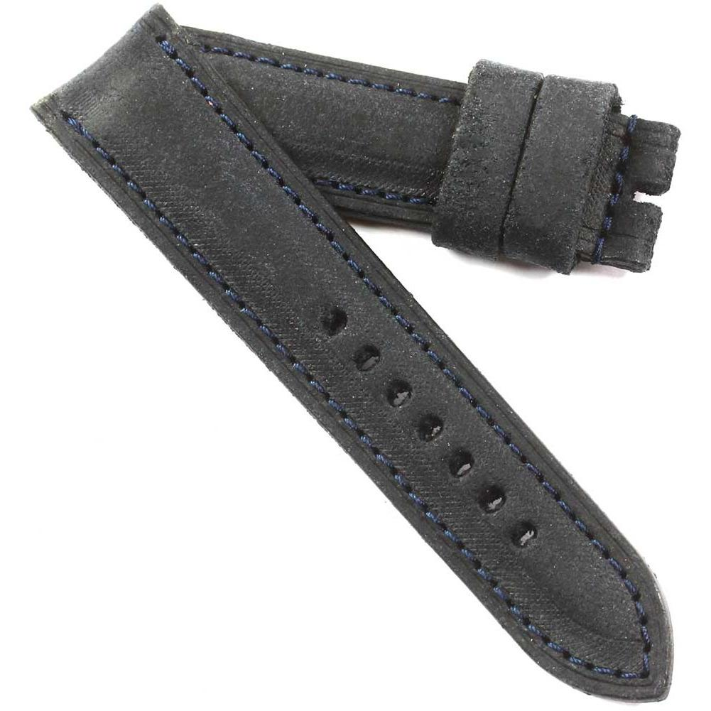 Fabrizio Ciampi Handmade Distressed Dark Blue with Blue stitching for tang buckles - TC Straps