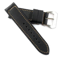 Original Kodiak waterproof leather in Black with Gold stitching and Natural Pre-V buckle - TC Straps