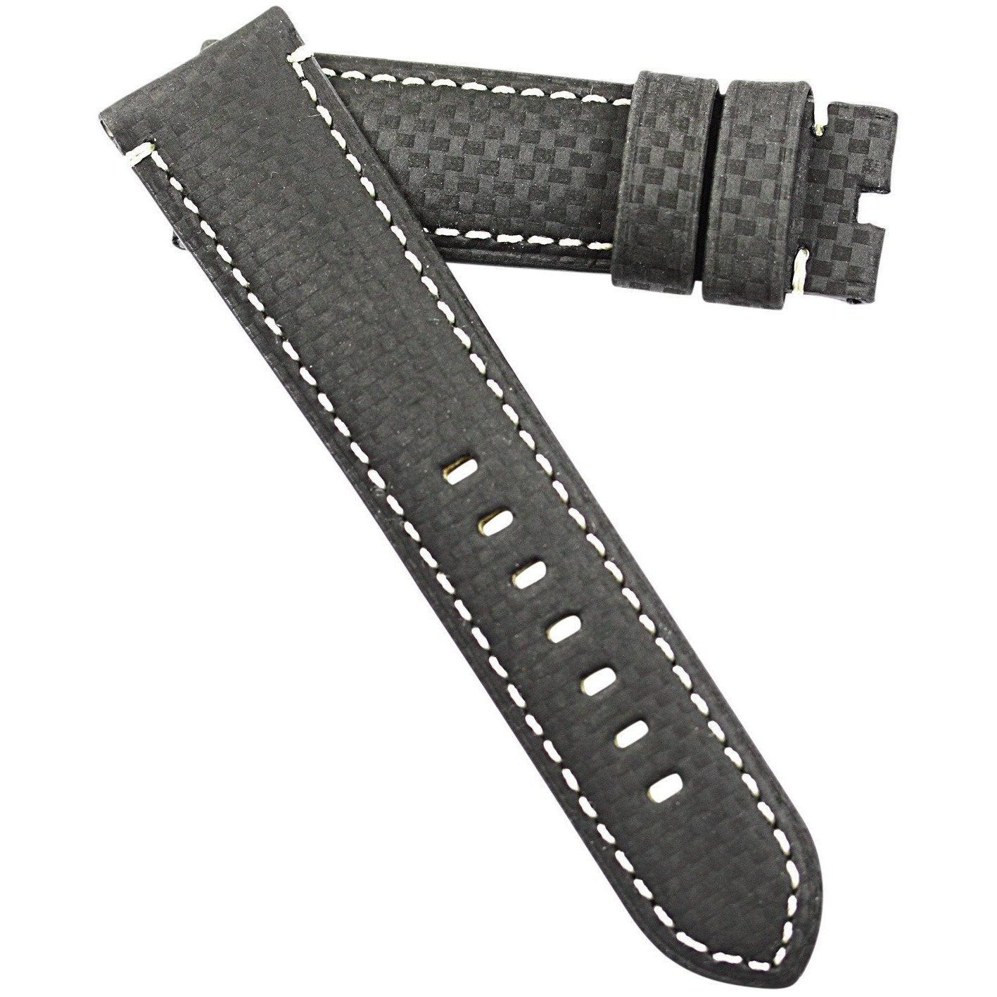 TC Milano Carbon Fiber with white stitching Tang or deployant buckles in all sizes - TC Straps