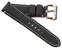 TC Milano Carbon Fiber with white stitching with FREE buckle in 26mm 125/80 - TC Straps