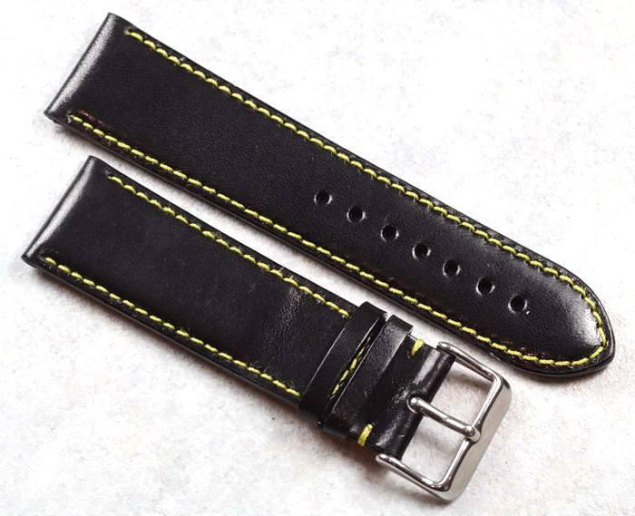 TC Milano in Black/yellow stitching for your Panerai or other fine watch - TC Straps