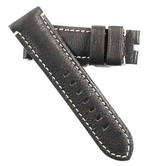 TC Milano Soft Tuscan Black Calf with white stitching for Deployant or tang buckles - TC Straps
