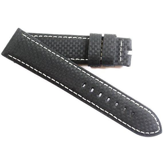 Toscana Carbon Fiber with white stitching for Tang or deployant  buckles - TC Straps
