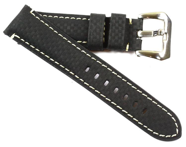 Toscana Carbon Fiber with white stitching includes Pre-V buckle - TC Straps
