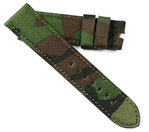 Toscana Fine Camo rolled edge canvas in Green for tang buckles - TC Straps