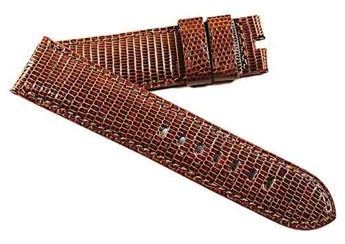 Toscana Handmade Genuine Lizard in Caramel Brown tone on tone - TC Straps