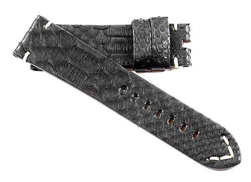 Toscana Handmade Genuine Python in Black for Tang buckles - TC Straps