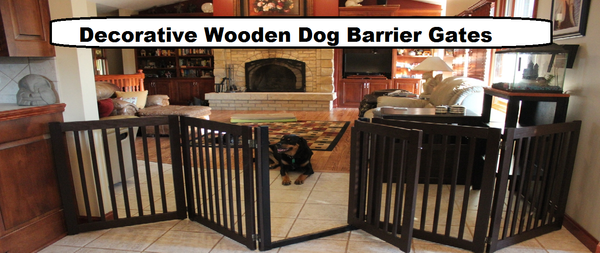 Wooden Indoor Dog Gates Attractive, Width Adjustable ...