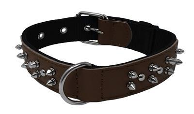Brown- Spike collar for dogs - leather wide