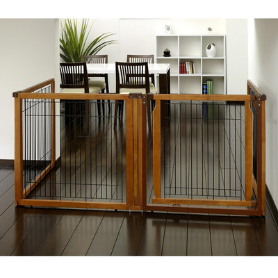 Freestanding gate -Convertible-elite petgate autumn finish  4 panel with door