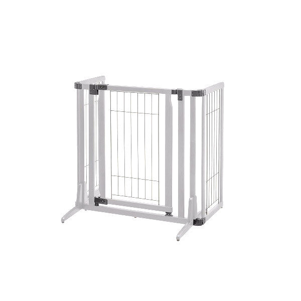 Pivot adjust versatile dog gate- oragami white