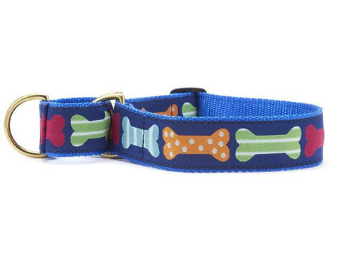 Extra wide dog collar -martingale bones