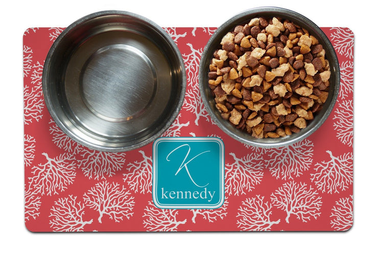 Coral Personalized Dog Dining Mat