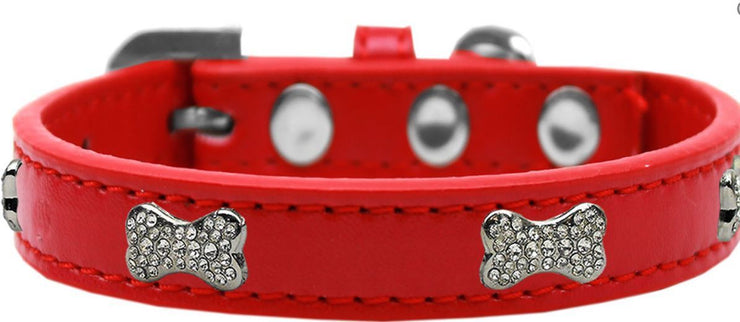 Rhinestone Bone Red Collar