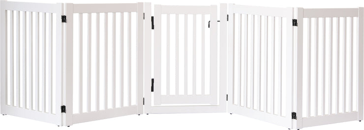 elegant white 108 inch wide pet gate with swing door
