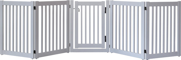 Gray wood wide dog gate with swing gate is amish made in the USAg