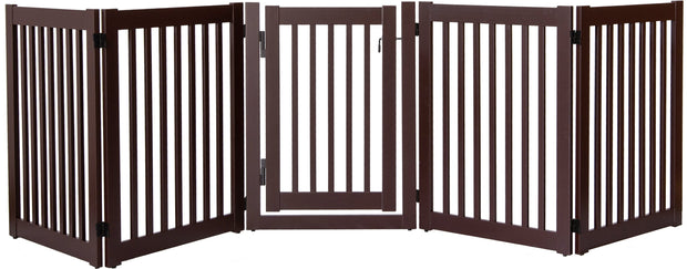 5 panel wide indoor pet barrier with swing gate - mahogany