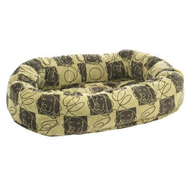 Micro velvet bolster dog bed by Bowser -Dog Days Pattern