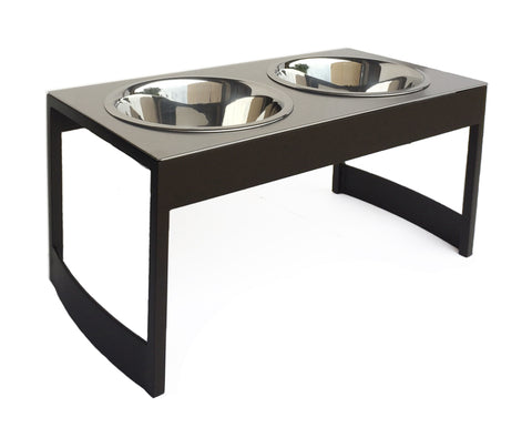 mocha steel industrial dog feeder stainless top