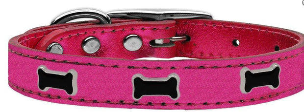 Pink leather collar for dogs metallic