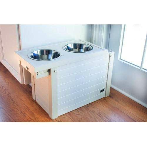 White wood dog feeder with storage