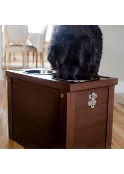 decorator dog feeder with storage -dark finish