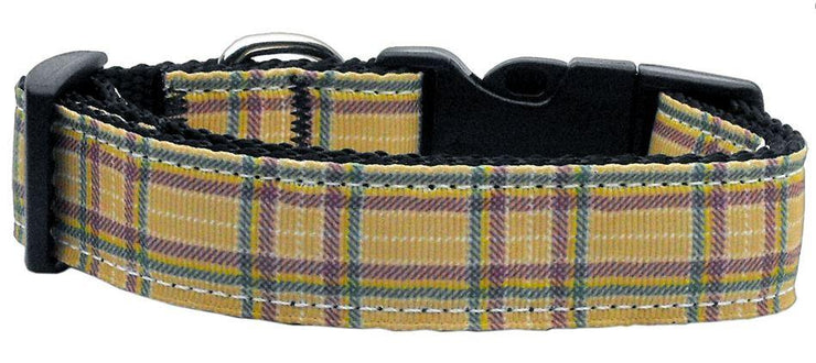 green Plaid nylon Dog Collar with metal d ring for tags and leash attachment
