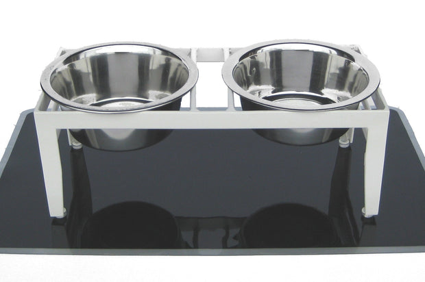 Coachman elevated dog feeder in white w 2 stainless steel bowls