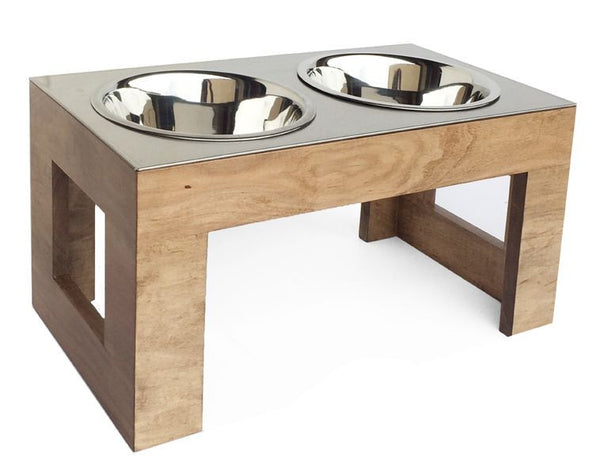 Stainless Steel Top Dog Diner in natural hard wood finish