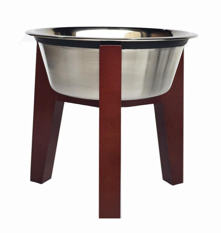 Walnut raised dog bowl stand w stainless steel removable bowl