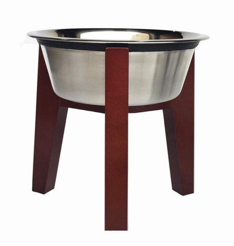 Walnut raised dog diner w stainless steel removable bowl