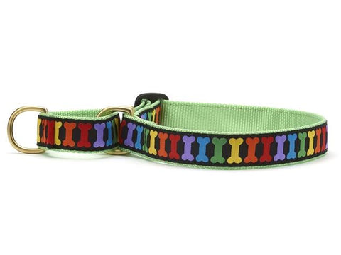 Rainbones rainbow dog collar -martingale