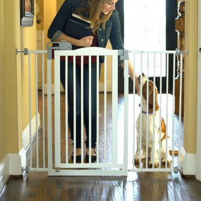 extra tall and wide wood dog gate white