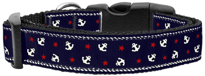 blue anchors dog collar
