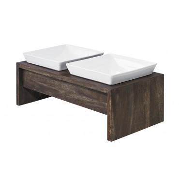 walnut veneer dog feeder with square porcelain bowls