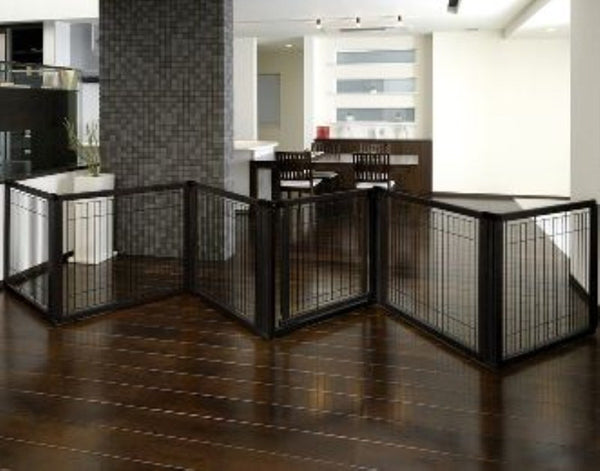 6 Panel wide pet barrier-black