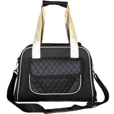 black purse style pet carrier with handle and strap