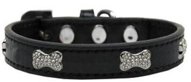 Rhinestone Bone Black Collar