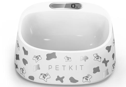Smart dog bowl with scale -white with gray accents