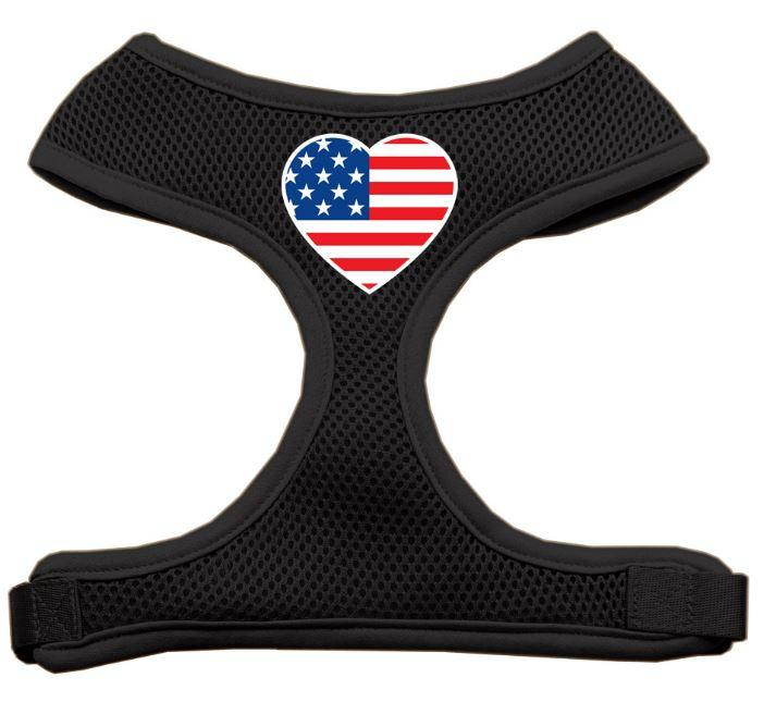 black mesh dog harness with American Flag heart print