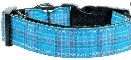 blue plaid nylon dog collar