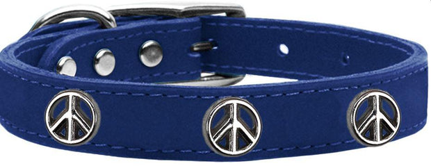 Peace Sign Leather Dog Collar