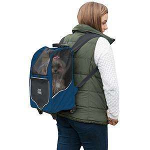 blue tiny dog backpack carrier w wheels